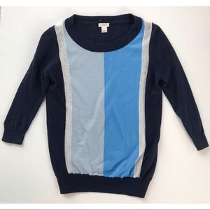J.Crew blue color block sweater (EUC)